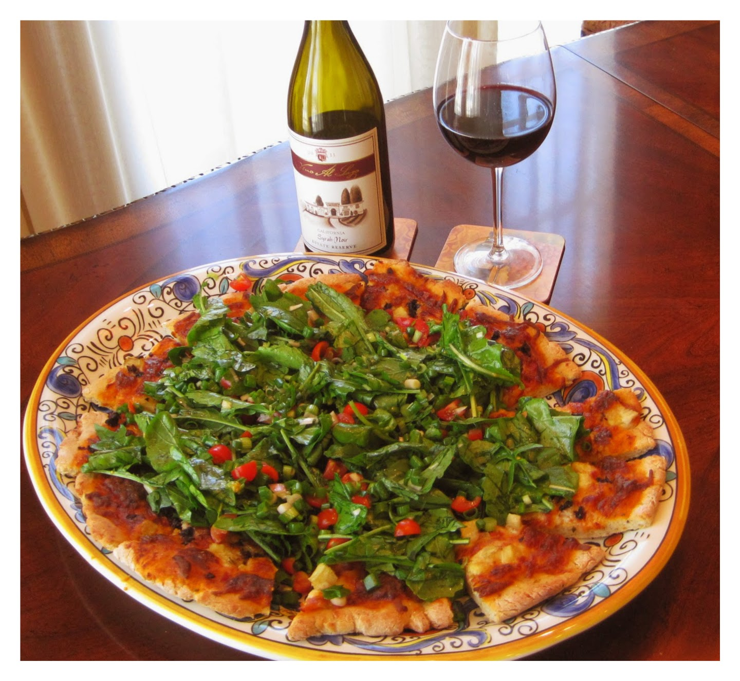 Pizza with Arugula Topping recipe image