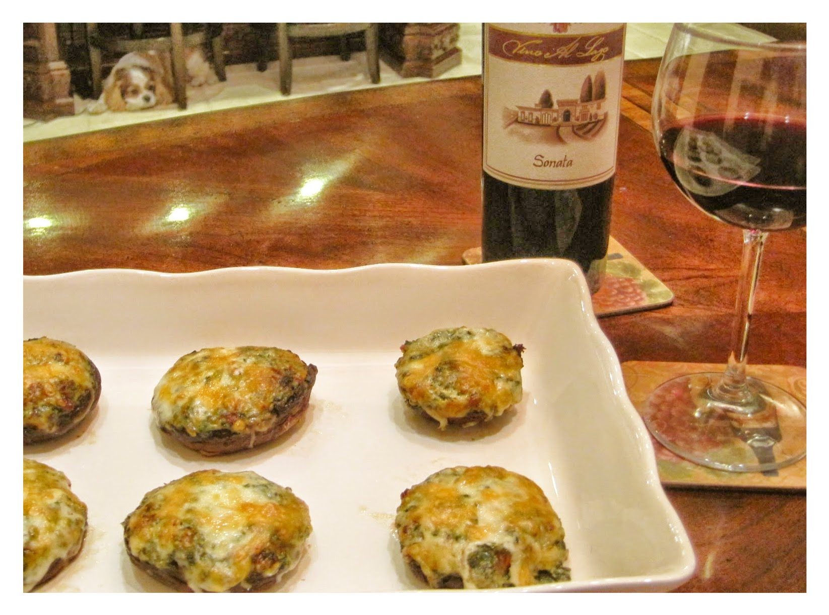 Mushrooms stuffed with Spinach, Kale, and Cheeses recipe image
